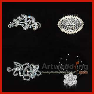 Silver Swarovski Crystal Wedding Bridal Headband Tiara Hairpin Hair
