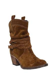 Dingo Womens Western Cowboy Boots Tobacco Suede Slouch W/Strap DI 683